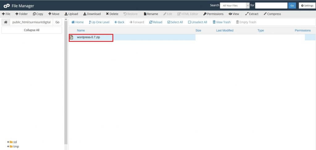 how to install wordpress manually through cpanel